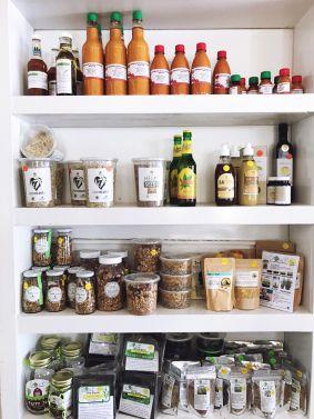 local home-made hot sauces, hemp items, organic oats, organic tea, growing seeds